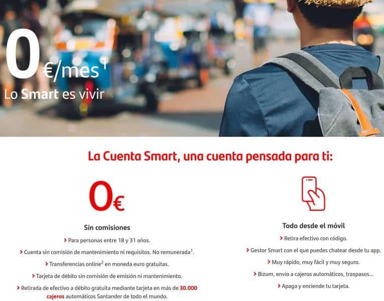 cuenta sin comisiones smart banco sin comisiones santander