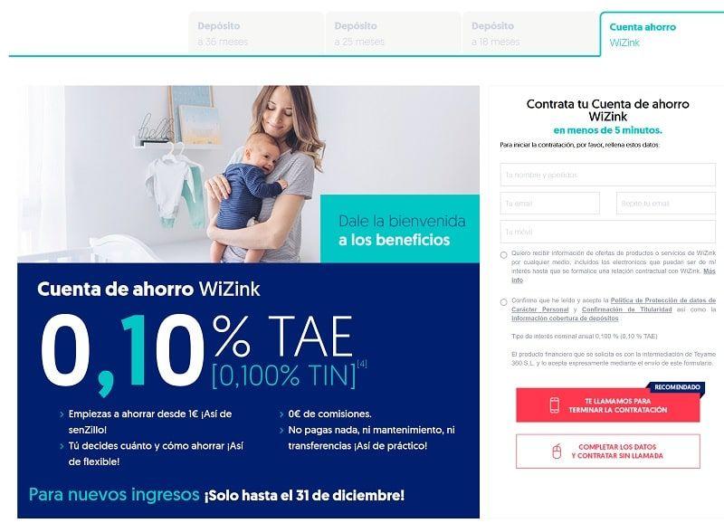 banco sin comisiones y ahorro WiZink